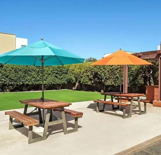 foto de área con mesas picnic