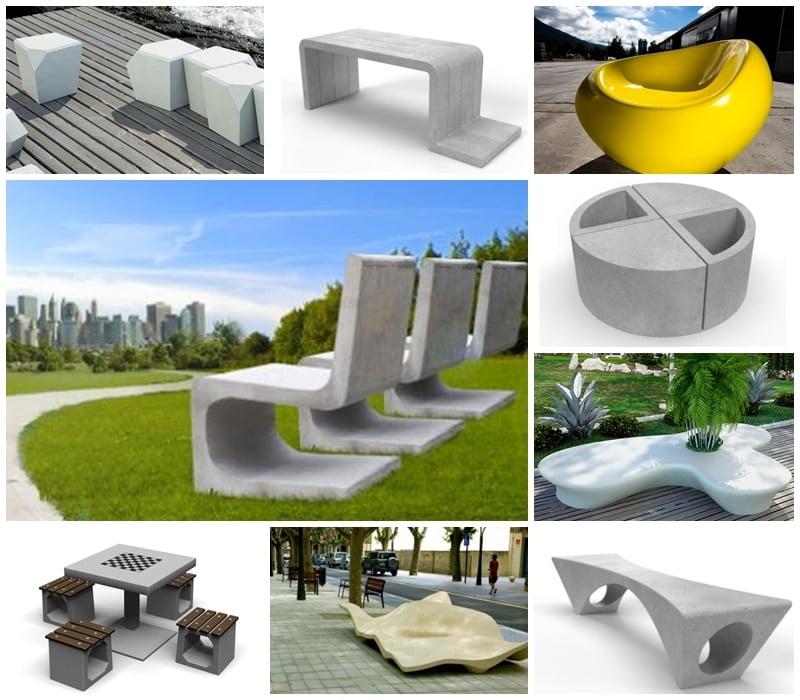 Imagen de variedad de mobiliario urbano